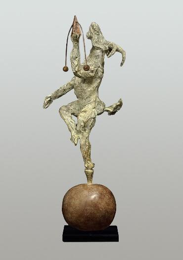 British sculptor, Bushra Fakhoury Sculpture, Bronze Sculpture, Balancing Act (Bronze) W40cm x H60cm x D13cm