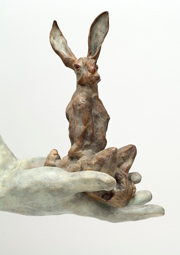 Bushra Fakhoury Sculptures, Bronze Sculpture, British Sculptors, Hare In Meditation (Bronze) W38cm x H23cm x D18cm