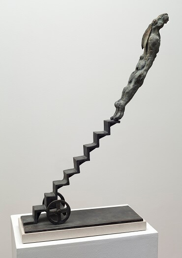 British sculptor, Bushra Fakhoury Sculpture, Bronze Sculpture, Leap of Faith (Bronze) W41cm x H68cm X D15cm