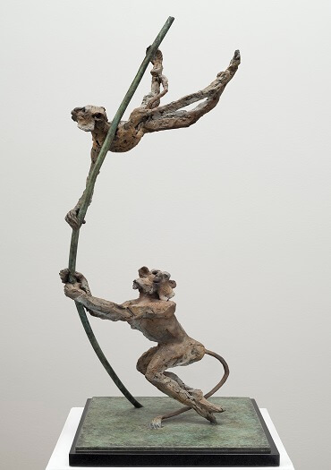 Bushra Fakhoury Sculptures, Bronze Sculpture, British Sculptors, Monkey Business (Bronze) W28cm x H74cm x D30cm