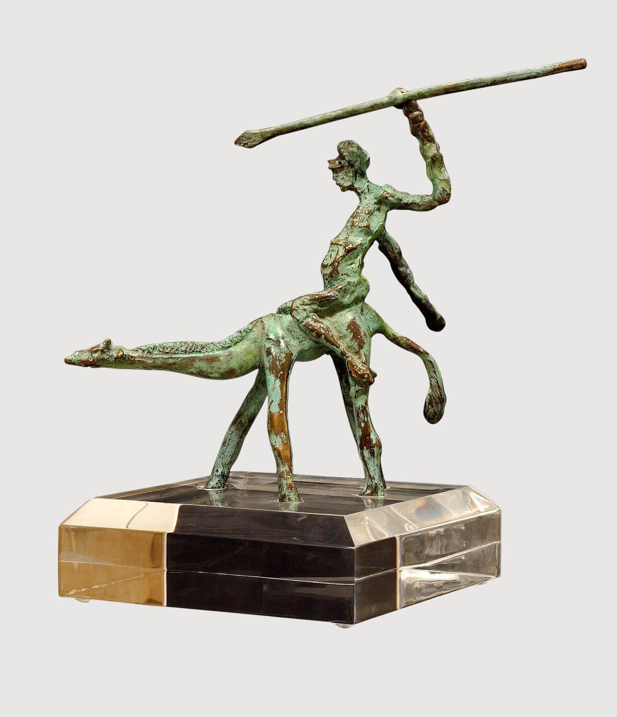 Giraffe Warrior (Bronze) H18cm x W16cm x D9cm