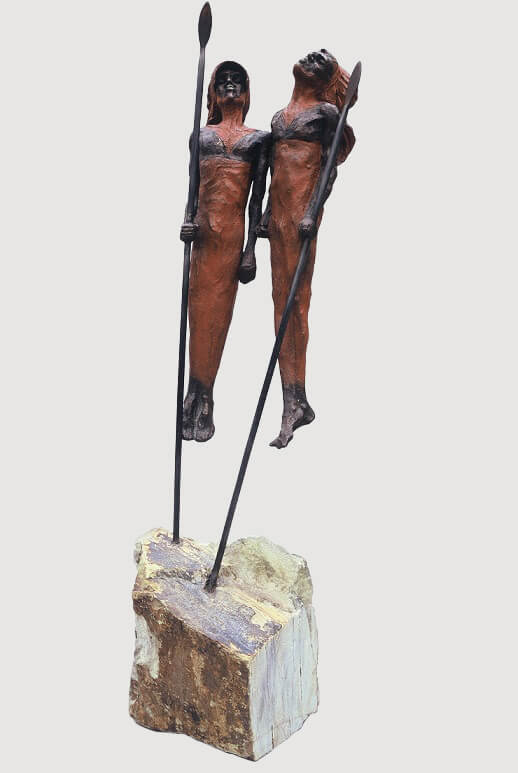 Samburu Dancers (Bronze) 111cm x 42cm x 30cm