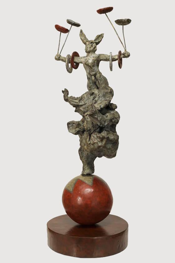Circus Act (Bronze) W26cm x H70cm x D20cm copy