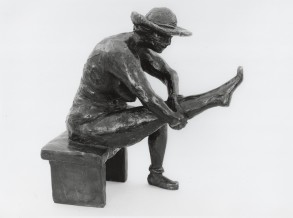 Getting Dressed (Bronze-Resin) 30cm x 17cm x 12cm