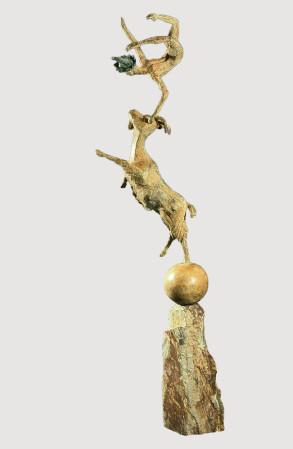 The Jester & The Goat (Bronze) 106cm x 25cm x 25cm copy