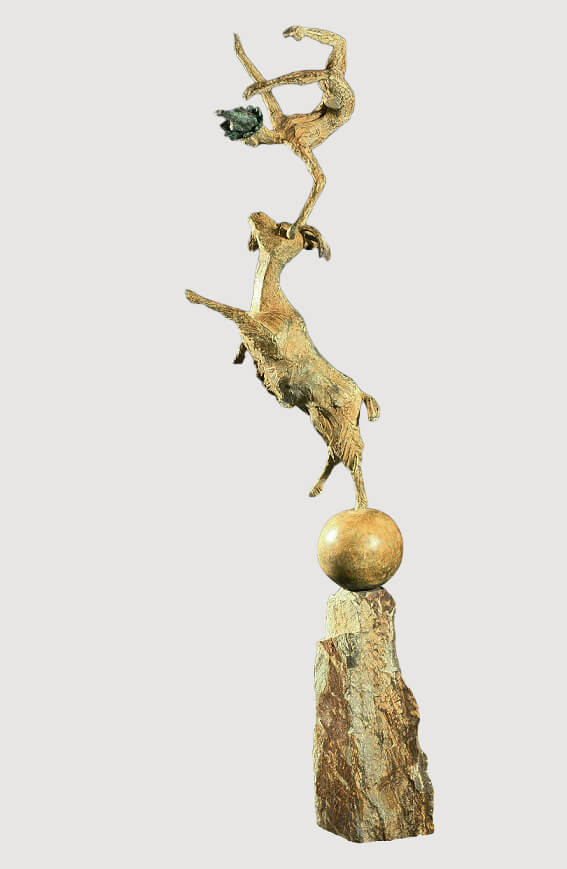 The Jester & The Goat (Bronze) 106cm x 25cm x 25cm copy