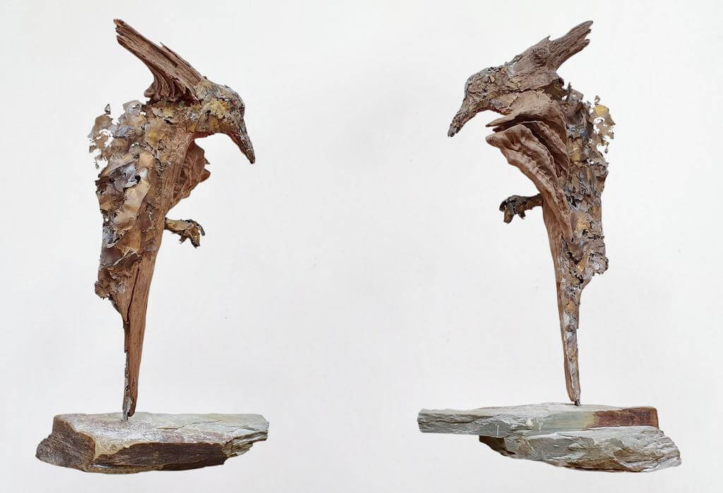 Bird of Pray - Wood and Stone (H50cm-W20cm-D29cm)