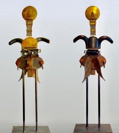 Probe (Iron-Wood-Brass-Glass) H90cm W30cm D15cm
